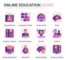 Moderne set onderwijs en kennis Verloop plat pictogrammen voor website en mobiele apps. Bevat iconen zoals studeren, school, afstuderen, e-boek. Conceptuele kleur platte pictogram. Vector pictogram pack.