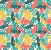 zomer en herfst kleur tropisch blad hand tekenen patroon naadloos