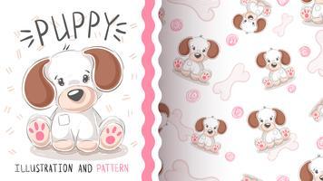 Leuke hond, puppy - naadloos patroon. vector