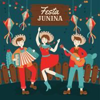 Hand getekend Festa Junina Brazilië juni Festival. Folklore vakantie. vector