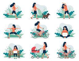 Gelukkige vrouw doet verschillende buitenactiviteiten: hardlopen, hond wandelen, yoga, sporten, fietsen, wandelen met kinderwagen.