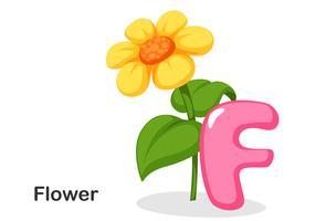 F voor bloem vector