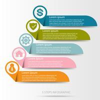 Infographic bedrijfsgegevens, procesgrafiek met 5 stappen, vector en illustratie