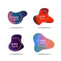 kleurrijke vloeistof en golf badges achtergrond voor creatief ontwerp