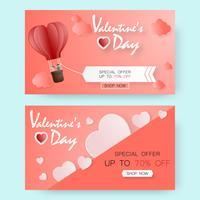 Creatieve Valentijnsdag verkoop vector illustratie papier knippen. wenskaart.