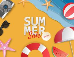 Creatieve illustratie zomer verkoop banner met papier knippen stijl.
