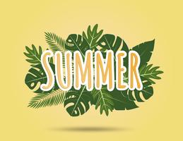 Creatieve illustratie zomer achtergrond met tropische bladeren.