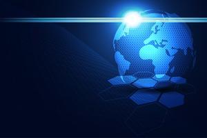 abstracte technologie concept wereld hi tech toekomstige donkere blauwe zeshoek achtergrond vector