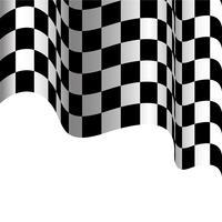 Geruite vlag die op witte vectorillustratie als achtergrond vliegt. vector