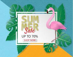 Creatieve de verkoopbanner van de illustratiezomer met flamingo en tropische bladerenachtergrond.