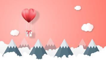 Creatieve Valentijnsdag achtergrond vector illustratie papier knippen stijl.