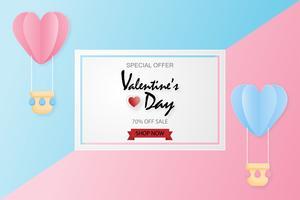 Creatieve Valentijnsdag verkoop achtergrond met hete lucht ballon papier knippen stijl achtergrond. vector