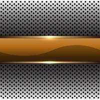 Abstracte gouden banner op zilveren cirkel mesh patroon ontwerp moderne futuristische achtergrond vectorillustratie.
