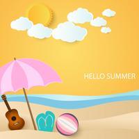 bal, gitaar en sandles onder paraplu op strand, zomer achtergrond