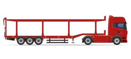 vrachtwagen oplegger voor transport van auto vectorillustratie