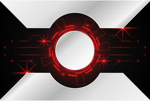 abstracte technologie achtergrond concept cirkel circuit digitaal metaal rood op hi-tech toekomstig ontwerp