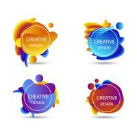 Kleurrijke vloeibare badges abstracte achtergrond, vector