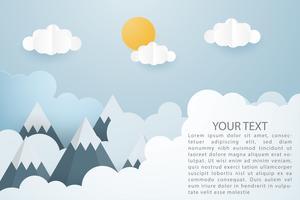 Creatieve vectorillustratie van berglandschap met zon en wolken papier knippen stijl. vector