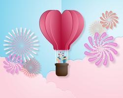 Creatieve liefde uitnodiging kaart Valentijnsdag vector illustratie papier knippen stijl achtergrond.