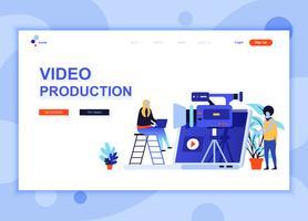 Moderne platte webpagina ontwerpsjabloon concept van Video productie ingericht mensen karakter voor website en mobiele website-ontwikkeling. Sjabloon voor platte landingspagina's. Vector illustratie.