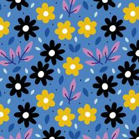 Blauwe achtergrond met bloemen vector