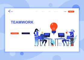 Moderne platte web pagina ontwerpsjabloon concept Teamwork ingerichte mensen karakter voor website en mobiele website-ontwikkeling. Sjabloon voor platte landingspagina's. Vector illustratie.