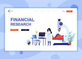 Moderne platte webpagina ontwerpsjabloon concept van Financial Research ingerichte mensen karakter voor website en mobiele website-ontwikkeling. Sjabloon voor platte landingspagina's. Vector illustratie.
