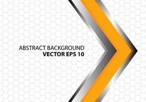 Abstracte oranje metaal zilveren pijl met grijs hexagon netwerkpatroon op wit ontwerp vector