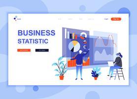 Moderne platte webpagina ontwerpsjabloon concept van bedrijfsstatistieken ingericht mensen karakter voor website en mobiele website-ontwikkeling. Sjabloon voor platte landingspagina's. Vector illustratie.