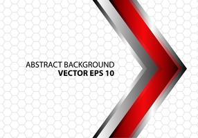 Abstracte rode metaal zilveren pijl met grijs hexagon netwerkpatroon op wit ontwerp vector