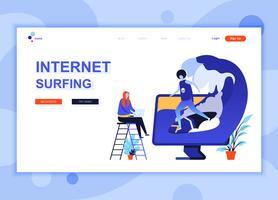 Moderne platte webpagina ontwerpsjabloon concept van surfen op internet ingericht mensen karakter voor website en mobiele website ontwikkeling. Sjabloon voor platte landingspagina's. Vector illustratie.