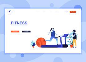 Moderne platte webpagina ontwerpsjabloon concept van Fitness ingerichte mensen karakter voor website en mobiele website-ontwikkeling. Sjabloon voor platte landingspagina's. Vector illustratie.