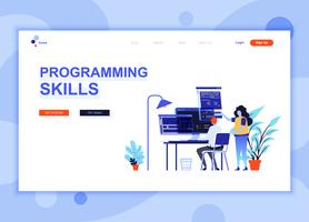 Moderne platte webpagina ontwerpsjabloon concept van programmeervaardigheden ingerichte mensen karakter voor website en mobiele website-ontwikkeling. Sjabloon voor platte landingspagina's. Vector illustratie.