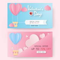 Creatieve Valentijnsdag verkoop vector illustratie papier knippen.