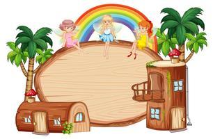 Log huis op houten banner