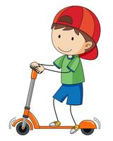 Doodle jongen spelen kick scooter vector