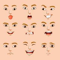 Verschillende gezichtsuitdrukkingen van de mens