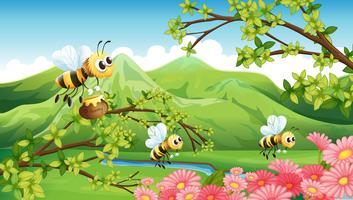 Een uitzicht op de berg met bloemen en bijen vector