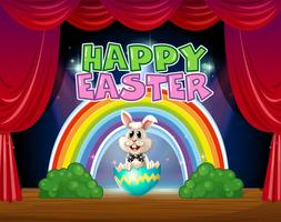 Gelukkige Pasen-kaart met konijntje in ei vector