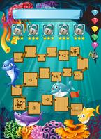 Computerspel sjabloon met haai onderwater