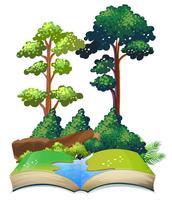 Boek van de natuur met bomen en rivier