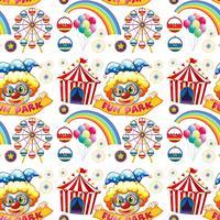Naadloze clowns en circus vector