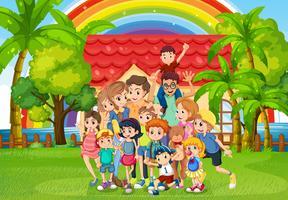 Familieleden die zich in het park bevinden