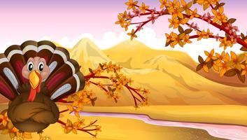 Een herfst uitzicht met een kalkoen vector