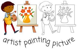 Doodle kunstenaarskarakter op witte achtergrond