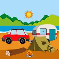 Cameground met tent en caravan