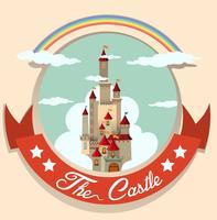 Logo ontwerp met kasteel en regenboog