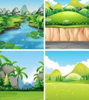 Vier verschillende natuurtaferelen