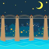 Brug over stad 's nachts