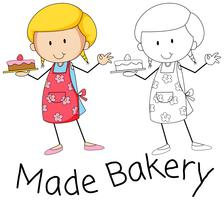 Doodle bakkerkarakter op witte achtergrond vector